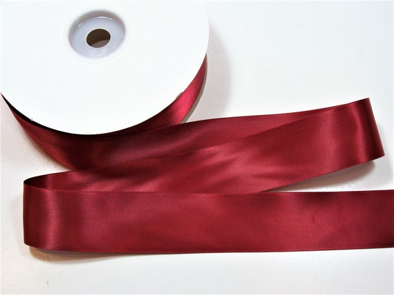 Vintage double sided SATIN Scarlett RED ribbon 5//8 wide SOLD by the 5 YARD lot!