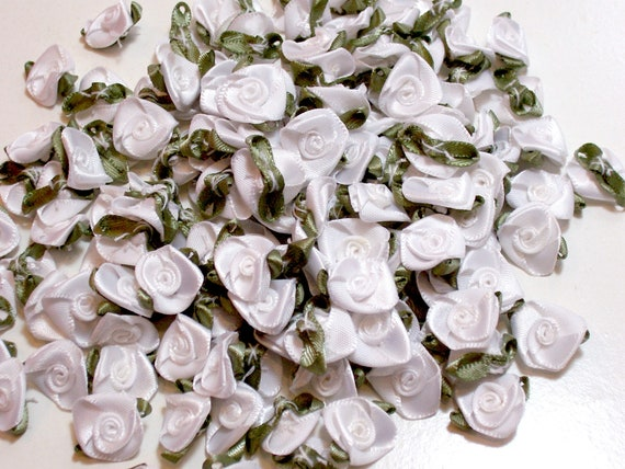 White Rose Flower Appliques Offray Rolled Ribbon Rose Satin Flowers X 10 pieces White Roses White and Mint