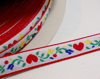 Hearts and Flowers Embroidered Jacquard Ribbon Sewing Trim 1/2 inch wide x 4 yards