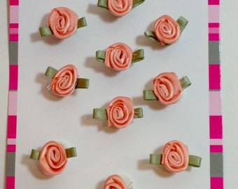 Peach Rose Flower Appliques, Offray Small Ribbon Rose Satin Flowers X 10 pieces