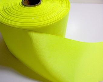 Wide Yellow Ribbon, Fluorescent Yellow Grosgrain Ribbon 4 inches wide x 3 yards