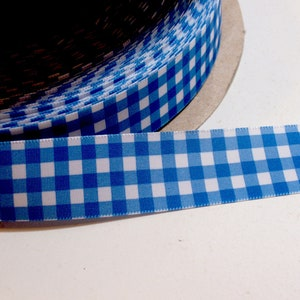 Periwinkle Blue Satin-Back Ribbon 1 12 inches wide x 10 yards Blue Gingham Ribbon