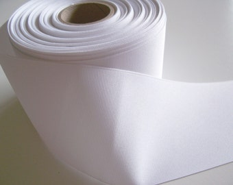 Wide White Ribbon, White Grosgrain Ribbon 3 inches wide x 3 yards