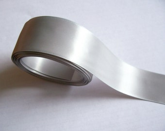 Silver Ribbon, Offray Double-Faced Silver Satin Ribbon 1 1/2 inches wide x 3 yards