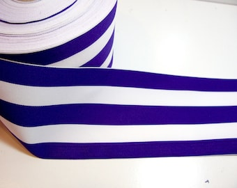 Extra Wide Ribbon, Purple and White Stripe Grosgrain Ribbon 4 inches wide x 3 Yards, Cheer Bow Ribbon