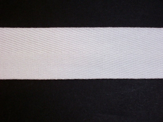 1 White Cotton Twill Tape 100 Yards Herringbone Ribbon Made in USA by Offray