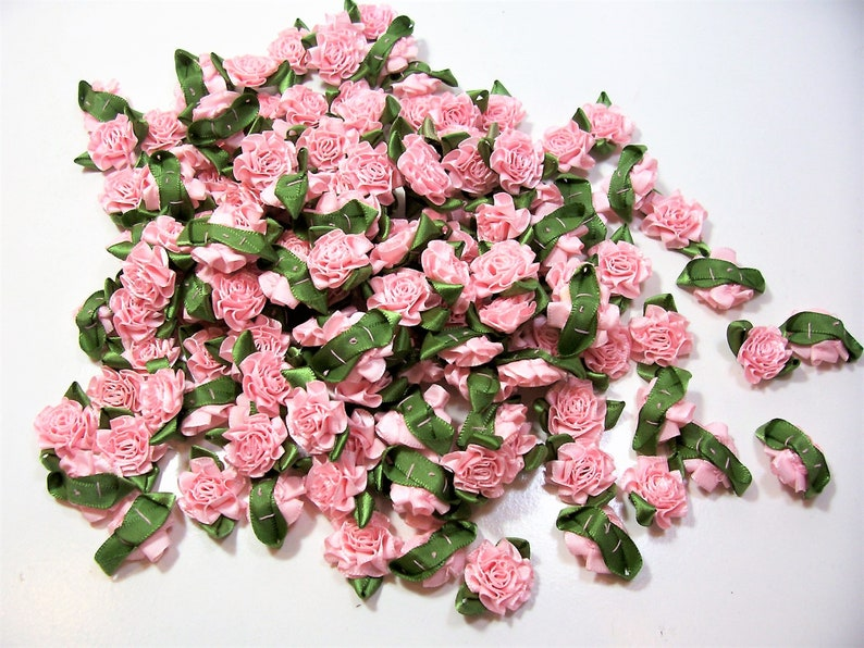 Pink Roses Fuchsia and Moss Offray Small Ribbon Rose Satin Flowers X 10 pieces Pink Flower Appliques