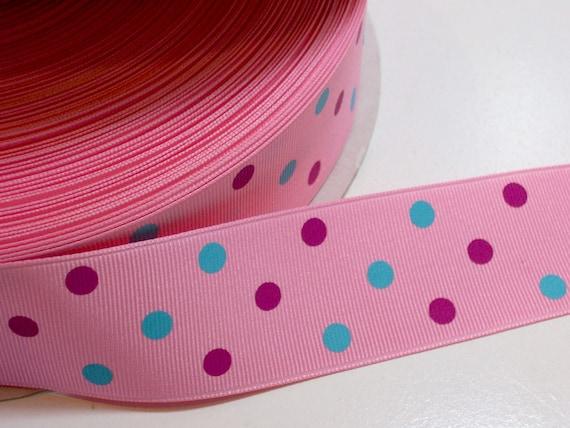 "3 yards Royal blue JUMBO polka dot print 1.5/"" grosgrain ribbon DIY bows"