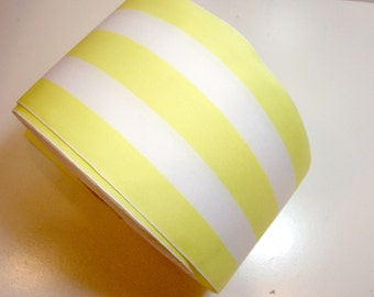 Extra Wide Ribbon, Yellow and White Stripe Grosgrain Ribbon 4 inches wide x 3 Yards, Cheer Bow Ribbon