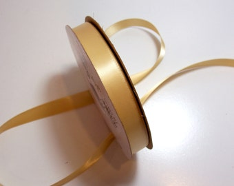 Double-Faced Gold Yellow Satin Ribbon 5/8 inch wide x 10 yards, Offray Golden Ale Ribbon, SECOND QUALITY FLAWED