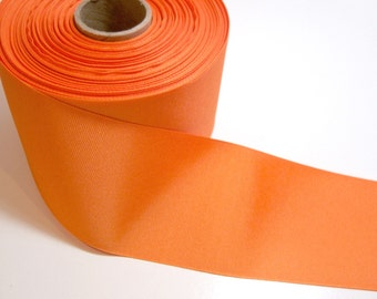 Wide Orange Ribbon, Orange Grosgrain Ribbon 3 inches wide x 3 yards