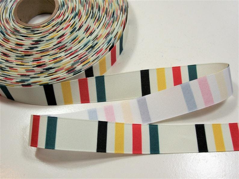 Red Green and Yellow Black Horizontal Stripe Grosgrain Ribbon 1516 inch wide x 10 yards Horizontal Stripe Ribbon in Ivory