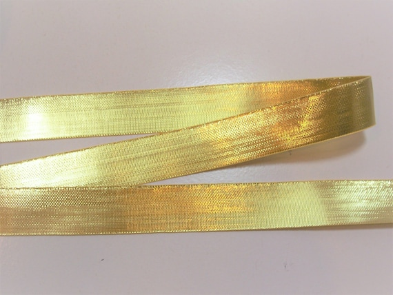 Copper Satin Ribbon 7//8 inch wide x 10 yards Metallic Gold Stripe Double Face