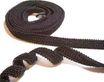 Black Ribbon, Black Chenille Style Sewing Trim 1/2 inch wide x 3 yards