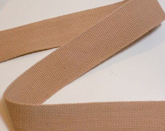 Beige Belting Ribbon, Beige Cotton Belting Sewing Trim 1 inch wide x 3 yards