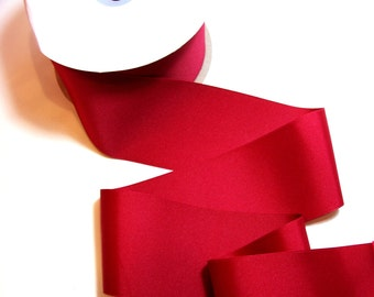 Wide Red Ribbon, Offray Cranberry Red Grosgrain Ribbon 3 inches wide x 3 yards