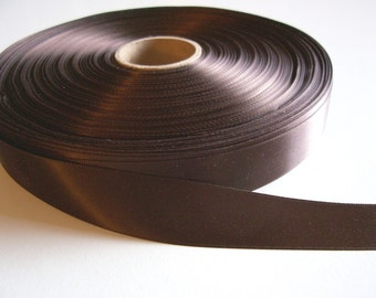 Brown Ribbon, Brown Satin Ribbon Double-Faced 7/8 inch wide x 5 yards