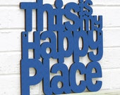This Is My Happy Place Carved Wood Sign, Lake House Decor Gifts for Men, Dance Teacher Encouragement Gifts, Wooden Letter Southwestern Decor