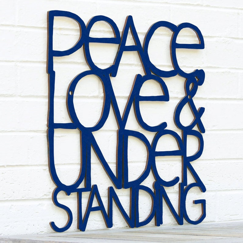 Peace Love Understanding Elvis Costello Sign Wood Quote Etsy