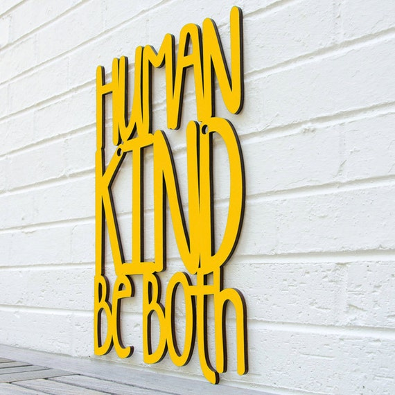 Humankind Be Both Laser Cut Wood Sign Wood Text Wall Art