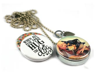 Dog Lover Gift • Your DOG Locket Necklace • ANY Dog's Picture • Magnetic • 3 Lockets in 1 • Custom Dog Gift • Dog Hugger • Recycled Steel