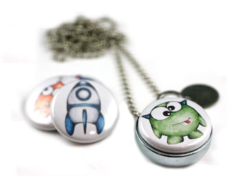 Monsters from Outerspace Necklace • Cute Alien Monster Jewelry • Magnetic Locket • Switchable Monster Lids • Spaceship • Geeky • Sci Fi Gift
