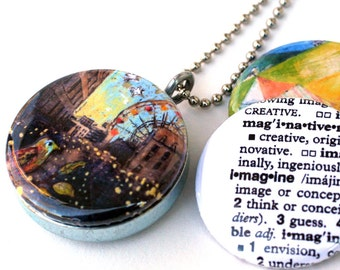 Carnival Locket Necklace, Ferris Wheel by Skyline, Tent, IMAGINE Magnetic Recycled Interchangeable Necklace, Cathy Nichols and Polarity