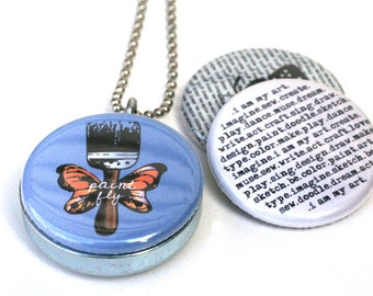 Artist Affirmation Locket Necklace - Paintbrush Necklace - Magnetic Locket, Typewriter Jewelry by Polarity & Kristen Powers