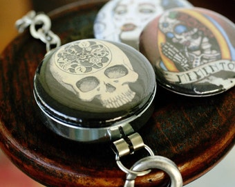 Day of the Dead Bracelet - Interchangeable Recycled Jewelry by Polarity and Shayne of the Dead