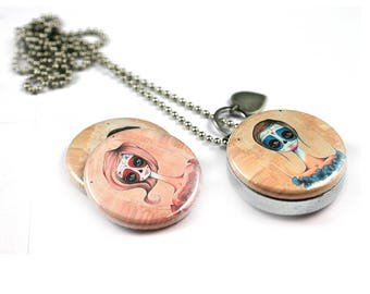 Zombie Locket Necklace | Teen Girl Gift | Zombie Girls | Goth Necklace | Gothic Jewelry | Magnetic | 3 Interchangeable Lids | Polarity