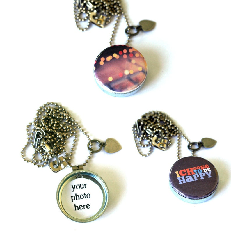 Choose Happiness Locket Necklace Gift for Girlfriend Amusement Park Skyride Photography Bokeh Necklace Photography Jewelry Fun Joy