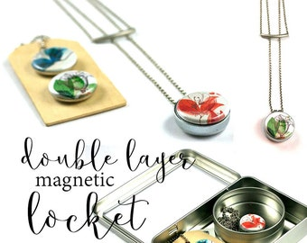 Layered Bar Necklace • Long and Layered • Abstract Floral Locket Necklace • 3 Magnetic, Interchangeable Lids • Holds a Picture • Recycled