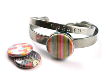 Stackable Bracelet Set, Teen Girl Gift | Interchangeable Lids with Gorgeous Colorful Designs, BREATHE stamped bonus bangle, stamped initial