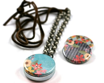 Colorful Leather Necklace, Geometric Necklace, 3 in 1 Magnetic LOCKET, Holds Picture, Leather Locket, Gift for Her, Girlfriend Gift