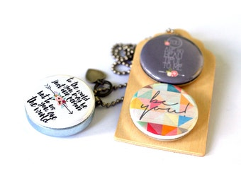 Be Yourself Jewelry, To The World You May Be One Person, Magnetic 3 in 1 Set, Daughter Locket Necklace, Inspiration Gift, Niece Gift, Love