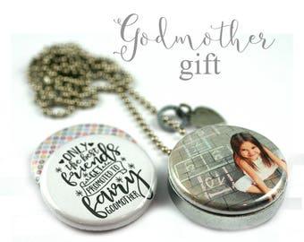 Godmother Gift • Godmother Locket Necklace • Godchild Photo • Godmother Jewelry • Interchangeable Lids • Stamped Heart Charm • God Mother