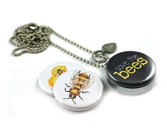 Save the Bees Locket Necklace • Beekeeper Gift • Eco Activist Necklace • Recycled Steel • Gardener Gift • Magnetic Jewelry • Gift for Her