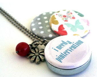 Pinterest Necklace Locket  - Addicted to Pinterest - Recycled Magnetic 3 in 1 Picture Locket By Polarity