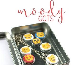 Emoji Cat Locket Necklace • Emoticon Locket • 7 Switchable Lids • Emotion Necklace • Emoji Birthday Gift • Magnetic • Recycled Steel • Fun