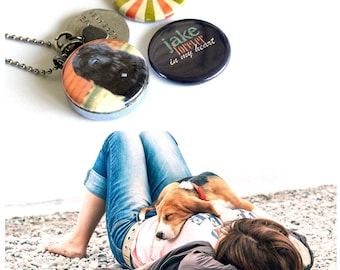 Dog Custom Locket Necklace - Custom, Personalized, Magnetic Necklace Set by Polarity - Your Dog's Name and Picture