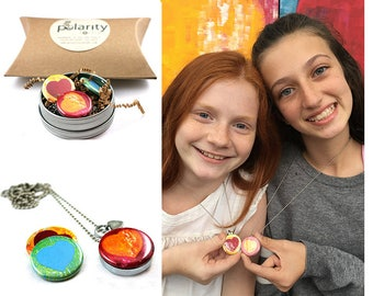 Granddaughter Locket Necklace for Valentine's Day | Heart Locket | Heart Necklace | Gift from Grandma | Custom Stamped | Magnetic | Recycled