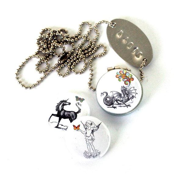 Conjunto De Unicornio Medallón con Cadena