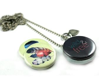Wild and Free Locket Necklace •  Feather Locket • Graduation Locket • Boho Jewelry • Bohemian Locket Necklace • Custom Stamped • Magnetic