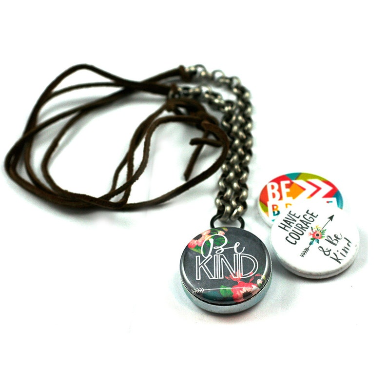 Be Kind Leather Necklace Kindness Necklace 3 in 1 Magnetic image 0