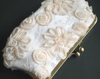 Cream Chiffon Lace Clutch