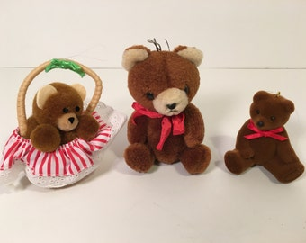 Teddy Bear Christmas Tree Ornament Set of Three