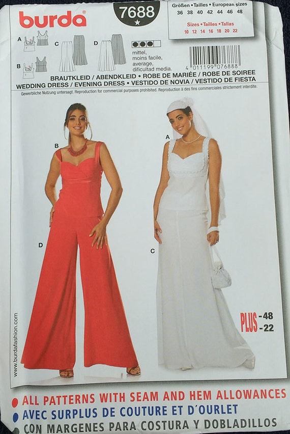 Burda Wedding Evening Dress Pattern Plus Size 7688 Etsy