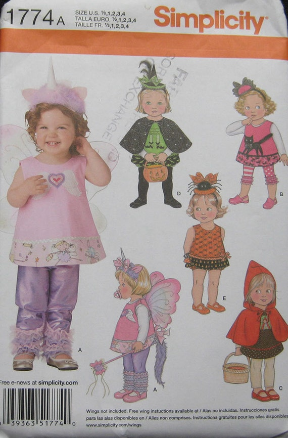 Simplicity Toddlers Halloween Costume Pattern 60 Etsy Gorgeous Toddler Halloween Costume Patterns