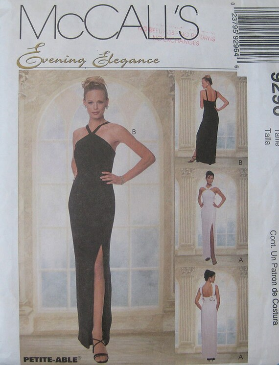 McCalls Evening Gown Dress Pattern 9296 | Etsy