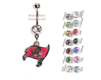 703cc632b NFL Tampa Bay Buccaneers Logo Belly Ring. Authentic Charm on Your Choice of  Gem Colors!